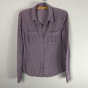 James Perse Corduroy Shirt Purple Lavender Top 208